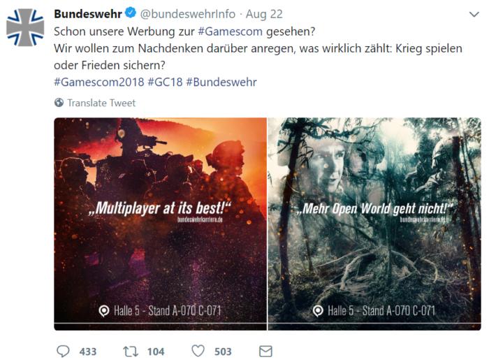Gamescom Bundeswehr Tweet